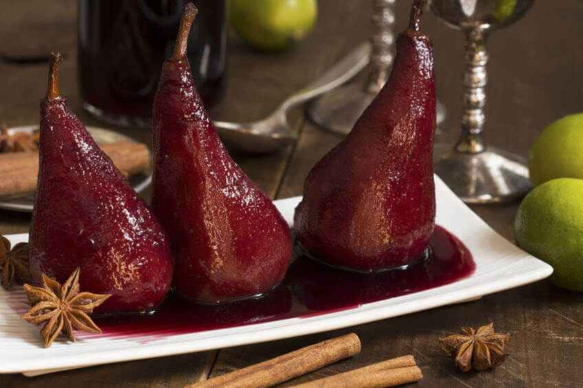 Pears poached in mulled wine - Seasoned Pioneers